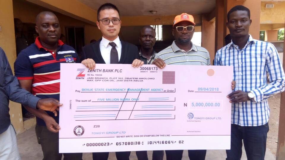 Chinese Investment company, Tongyi Group Donates N5 Million To Benue IDPs